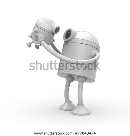 The robot is glad his son. 3d illustration
