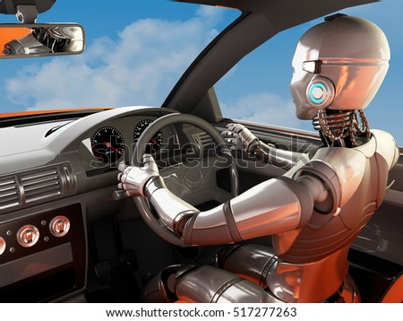 The robot is inside the car.,3d render