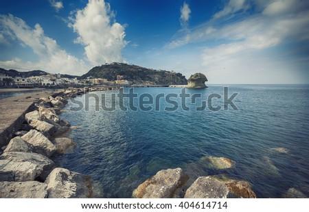 """The rock  called the """"Il Fungo"""" in Lacco Ameno ,  Ischia island in Italy - stock photo"""