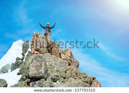 The rock-climber on the summit - stock photo