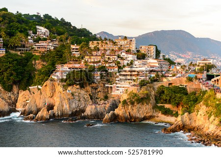 The rock La Quebrada, one of the most famous tourist attractions in Acapulco, Mexico.