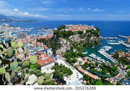 the rock the city of principaute of monaco and monte carlo in the south of France  - stock photo