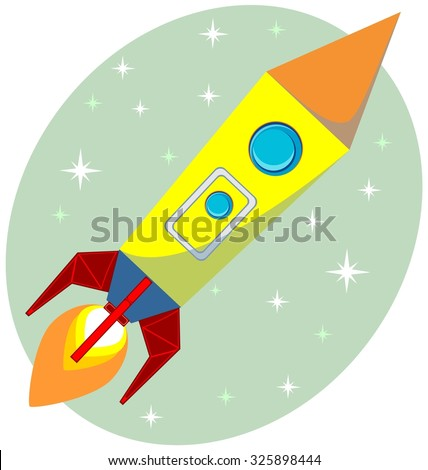 The Rocket a fierce flame of the turbine in the sky, vector illustration - stock photo