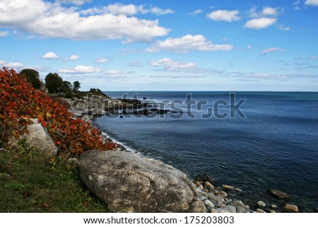 The rocky coastline of the state of New Hampshire.