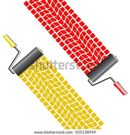 The roller draws paint from the wheel of the machine . - stock photo