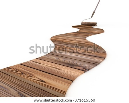 The roller for painting with a wooden footpath - stock photo