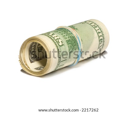 the roller from hundred dollars banknotes isolated