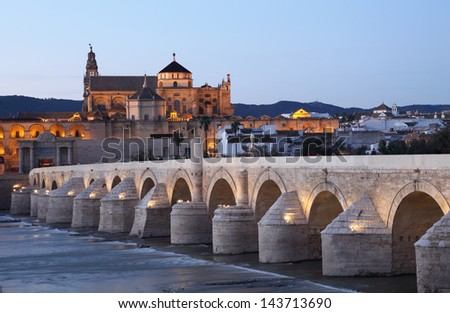 The Roman Bridge with the Cathedral-Mosque of Cordoba in the background. Andalusia, Spain - stock photo