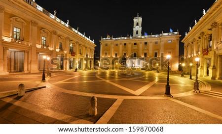 The Roman Capitolium in Rome - stock photo