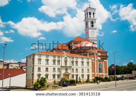 The Roman Catholic Cathedral of Blessed Mother Teresa in Pristina, Kosovo - stock photo