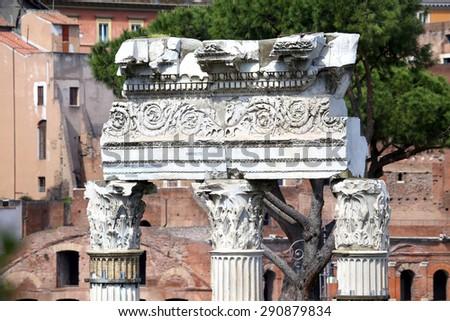 The Roman Forum in closeup, Rome, Italy - stock photo