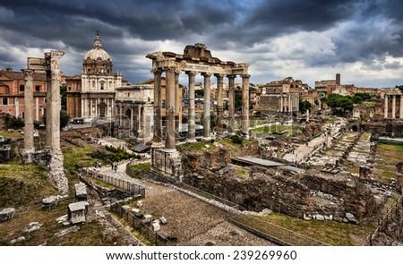 The roman forum in Rome. - stock photo