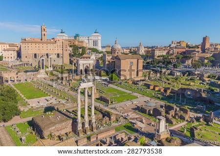 The Roman Forum in Rome, Italy. - stock photo