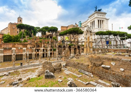 The roman forum in rome. National Monument to Victor Emmanuel II. - stock photo