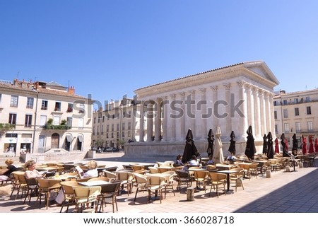 The Roman temple Maison Carree in Nimes, France - stock photo