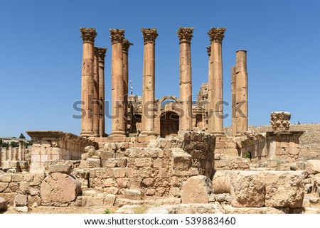 The Roman temple of Artemis, Jerash, Jordan. The temple was built on one of the highest points and dominated the whole city