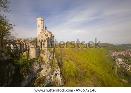 The romantic castle of Lichtenstein in Baden-Wuertemberg in Germany