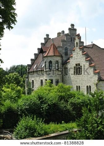 The romantic schloss of Lichtenstein in Baden-Wuertemberg in Germany - stock photo