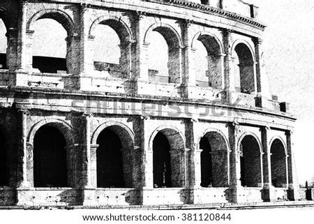 The Rome Colosseum. Sketch stile. - stock photo