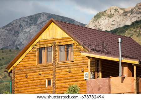 The roof of a country wooden house