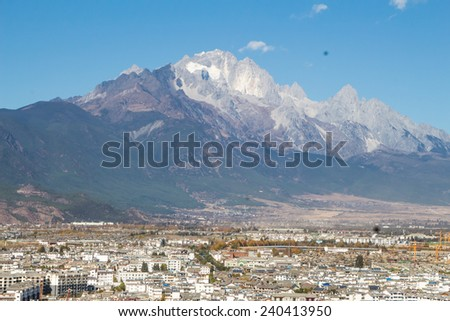 the roof of Lijiang City mountain View - stock photo
