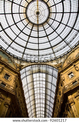 The roof of the Galleria Vittorio Emanuele II, a glass-vaulted arcade next to the main square of Milan, Italy