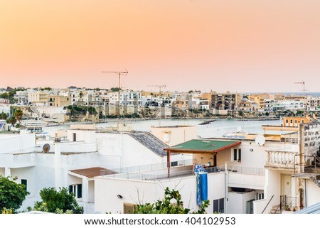 the roofs of an ancient seaside town on the coast of the Salentum in Puglia