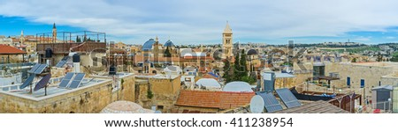 The roofs of residential houses in old Jerusalem are the great viewpoints, overlooking churches, mosques and synagogues of the city, Israel. - stock photo