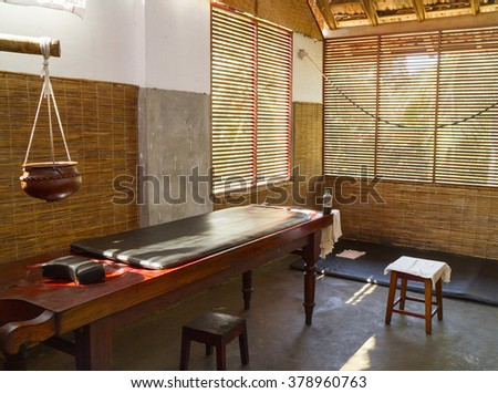 The room for medical treatments in the Ayurvedic clinic (Kerala, India)