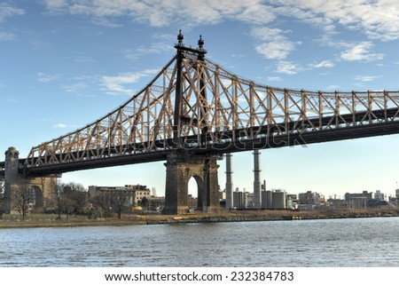 The Roosevelt Island Bridge is a lift bridge that connects Roosevelt Island in Manhattan to Astoria in Queens, crossing the East Channel of the East River.