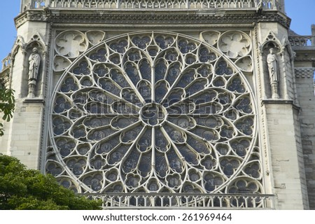 The Rose Window at the Notre Dame Cathedral, Paris, France - stock photo