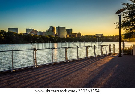 The Rosslyn skyline at sunset, seen from the Georgetown Waterfront in Washington, DC. - stock photo