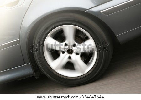 The rotating wheel of a car traveling close-up