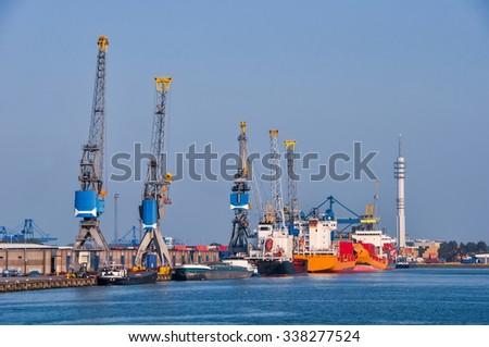 the Rotterdam a sea cargo port skyline - stock photo