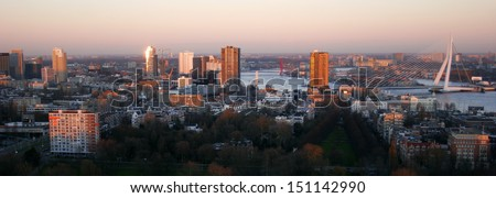 The Rotterdam city skyline. - stock photo