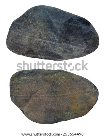 The round stone is isolated on a white background. - stock photo