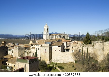 The route over medieval walls. Aerial view of the city of Girona with the cathedral, Catalonia