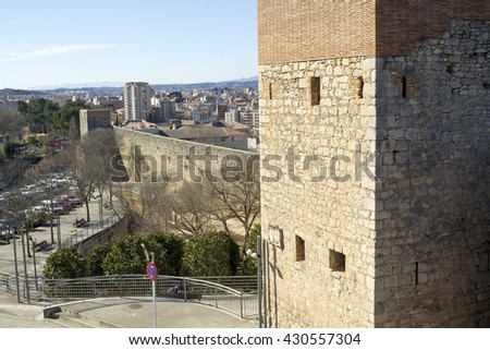 The route over medieval walls, in the downtown of Girona. Catalonia - stock photo