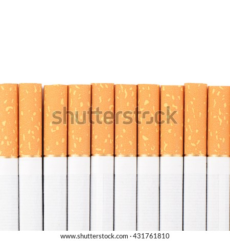 The row of cigarettes on white background