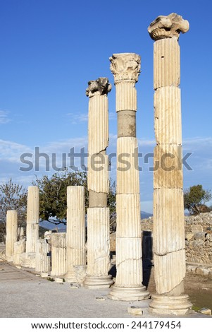 The row of columns along the street in the ancient city of Ephesus (Turkey). - stock photo
