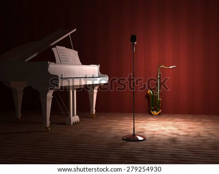 The Royal and sax on stage. - stock photo