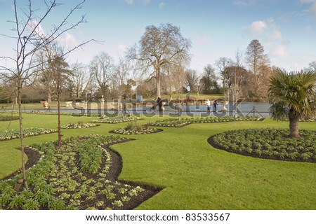 The Royal Botanic Gardens, Kew, usually referred to as Kew Gardens, is 121 hectares of gardens and botanical glasshouses between Richmond and Kew in southwest London, England - stock photo