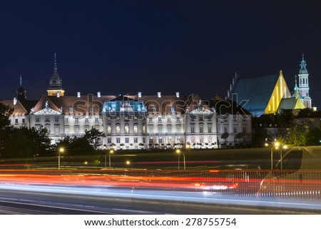 The Royal Castle in Warsaw, Poland at night - stock photo