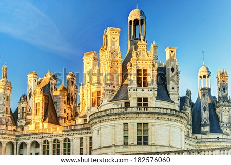 The royal Chateau de Chambord, France. This castle is located in the Loire Valley, was built in the 16th century and is one of the most recognizable chateaux in the world. - stock photo