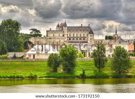 The Royal Chateau of Amboise and river Loire, Pays-de-la-Loire, France.  Loire Valley - UNESCO World Heritage Site - stock photo
