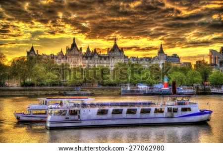 The Royal Horseguards Hotel, a historic building on a bank of the Thames - stock photo