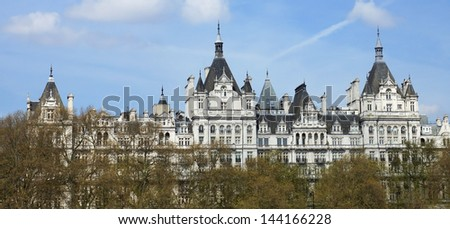 The Royal Horseguards originally built in 1884 in style of a French cheteau as the home of the National Liberal Club.Designed by Alfred Waterhouse, London, UK - stock photo