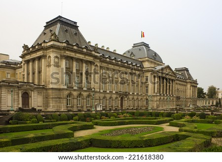 The Royal Palace in center of Brussels, view from Place des Palais, Belgium