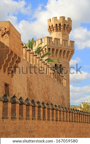 The Royal Palace of La Almudaina is the fortified palace of Palma. it is located near the Cathedral. Palma is the capital city of the Island of Majorca, Spain.  - stock photo