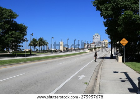 The Royal Park Bridge to Palm Beach, Florida has a bicycle lane - stock photo